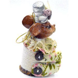 игрушка елочная, ???, керамика, животное, мышка: туловище-катушка ниток на пуговицах,наперсток на голове
