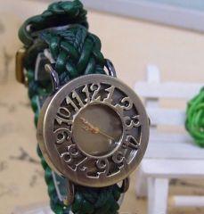 Bay - Bayan Kemer Tipi Yeşil Deri Orme Saat