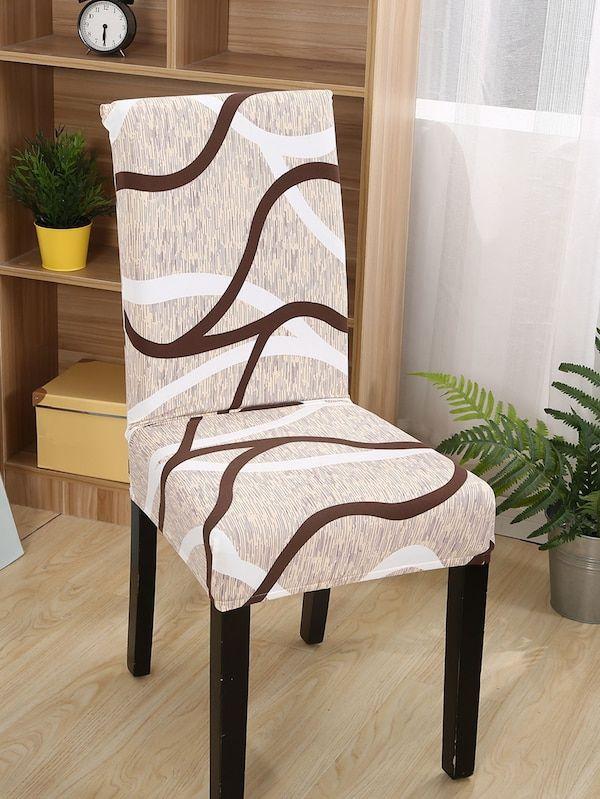 Funda De Silla Elastica Con Patron De Curva Shein Es Dining Chair Covers Chair Chair Covers