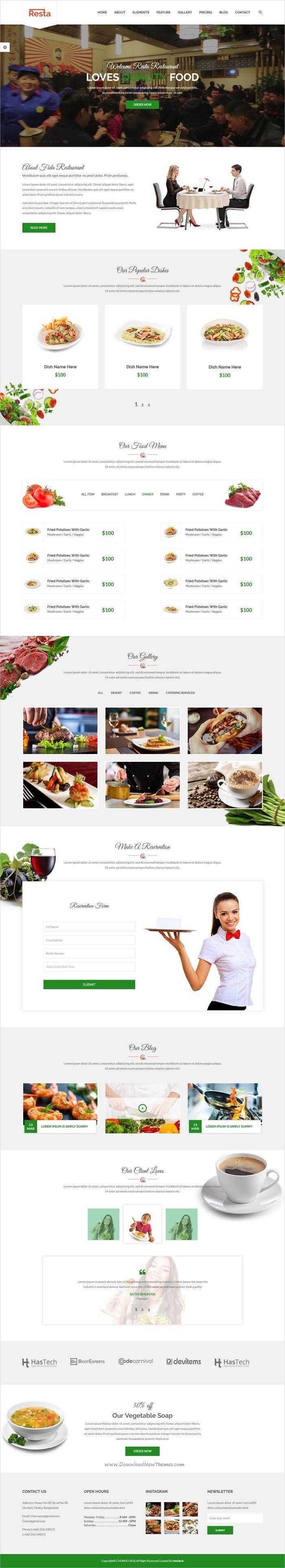 Resta Restaurant HTML Template 566 best