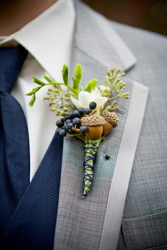 boutonniere with acorns and berries