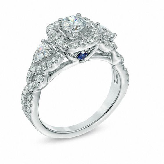 Vera Wang Love Collection 1 3 8 Ct T W Diamond Three Stone With Images Three Stone Engagement Rings Three Stone Diamond Rings Engagement Stone Engagement Rings