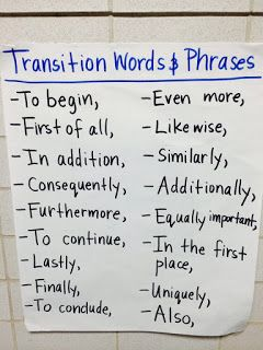 Transitions to use in expository writing and writing about reading responses.Kasey Kiehl