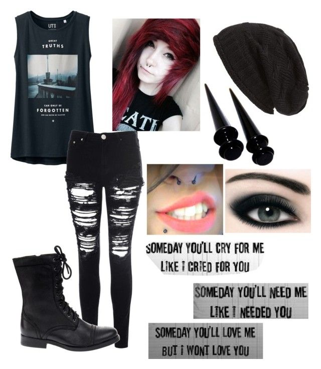 """Emo// Scene// Dark >Requested<"" by coolrose723 ❤ liked on Polyvore featuring Uniqlo, David & Young, Glamorous and Jeffrey Campbell"