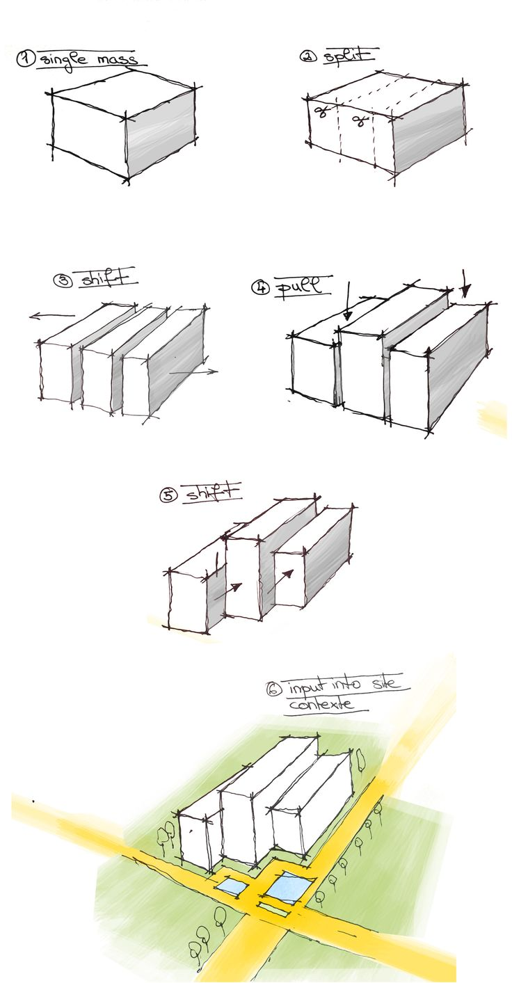 Progression of simple design process from geometric shape leading to detailed massing then input into site context