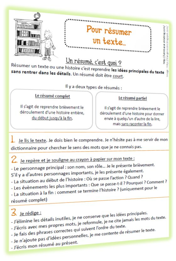 Faire un résumé de texte (méthodologie et grille d'évaluation)