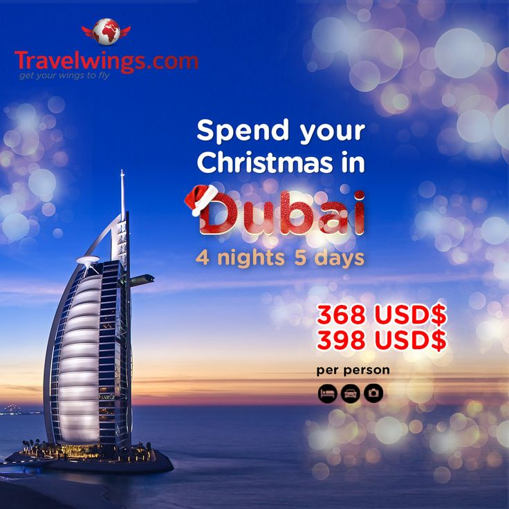 Spend your Christmas holidays in Dubai. Fly from Africa and experience amazing adventures at 368 USD only! Hurry!  http://www.travelwings.com/special-offers/christmas-in-dubai.aspx