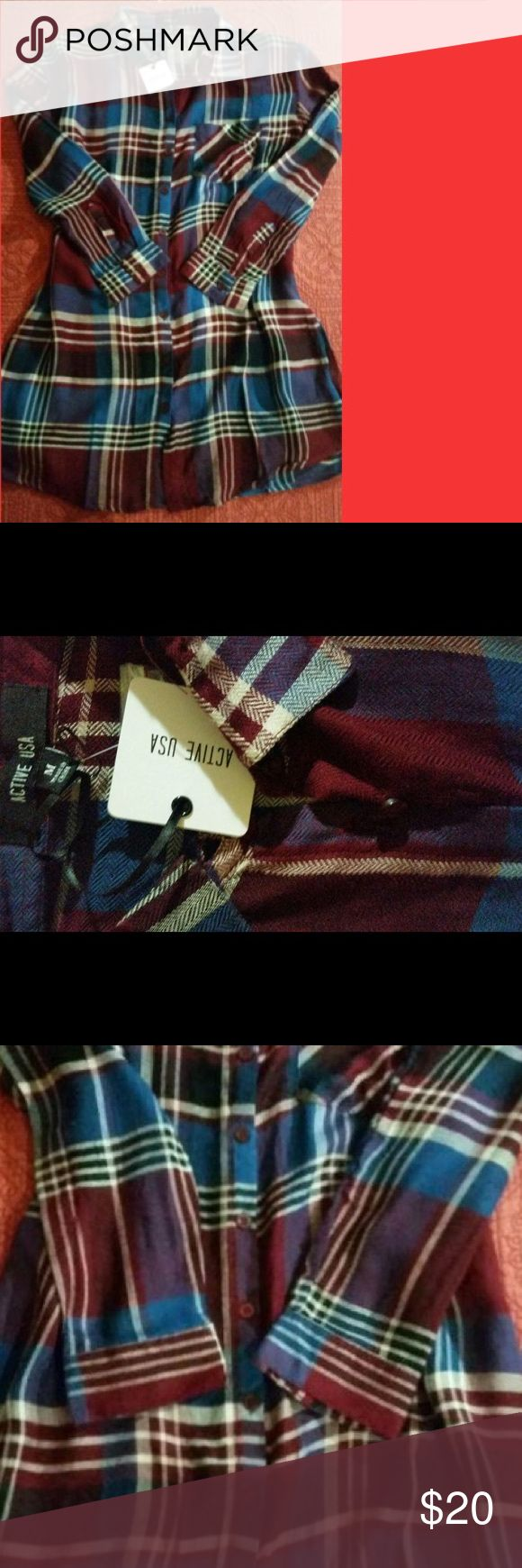 New Long Flannel Shirt Size M, new with tags Tops Button Down Shirts