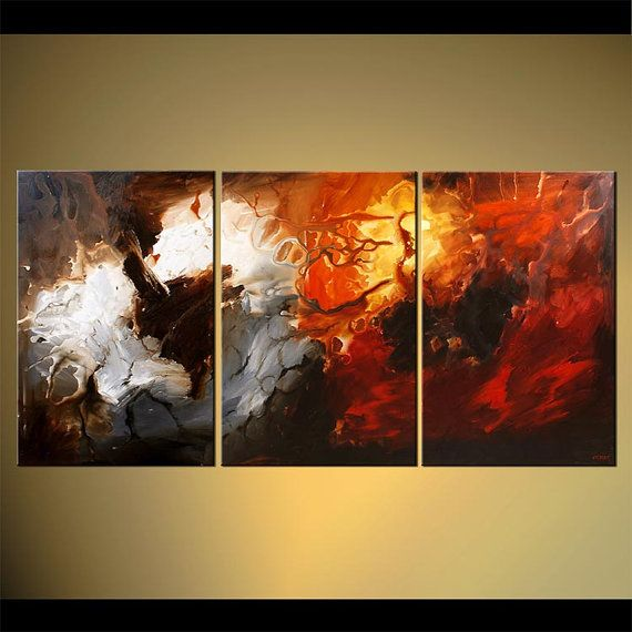 """Large Abstract Painting Red, Gray, White Acrylic Painting on Canvas by Osnat - MADE-TO-ORDER - 72""""x36"""""""