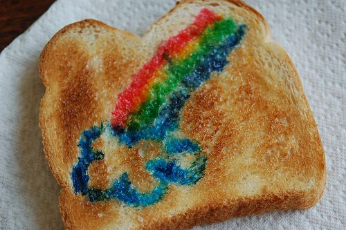 Let the kids paint their food! Just mix milk and food coloring and use a new paintbrush. Then toast the bread and look what happens! We did this in preschool and the kids loved it.
