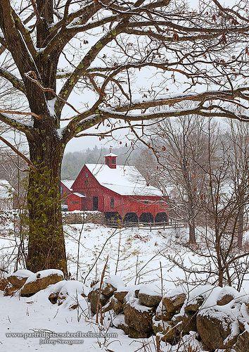 Snowy barn.