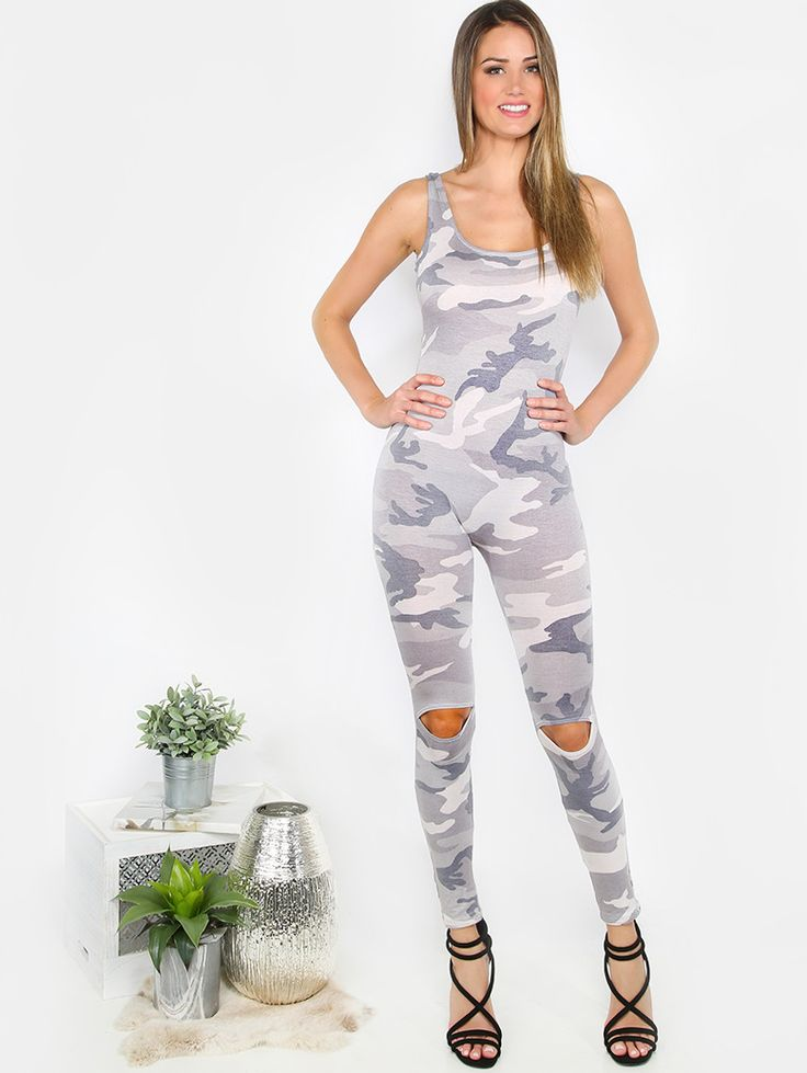 """Edgy, sporty and such an easy choice for when you're in a fashion dilemma! The Sleeveless Camouflage Jumpsuit features a sleeveless cut, scoop neck, and knee hole cut outs. Jumpsuit measures 50"""" from shoulder to bottom hem. Pair with comfy booties or your fave sneakers for a casual ensemble. Modeled in a size S. #MakeMeChic #MMC #MMCstyle #fashion #style"""