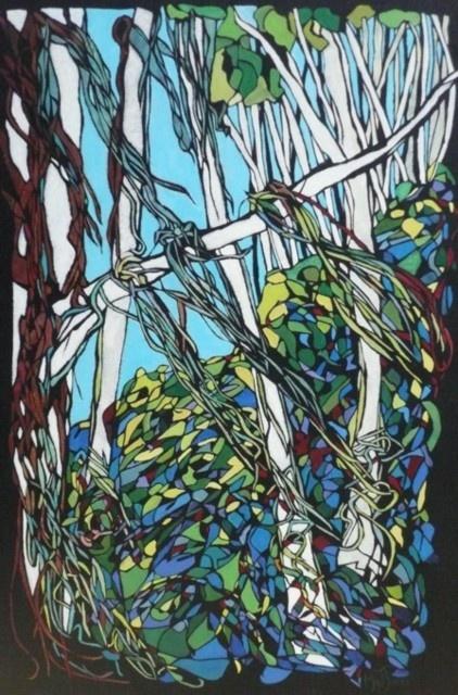 Pochoir-style painting by Mel Jones