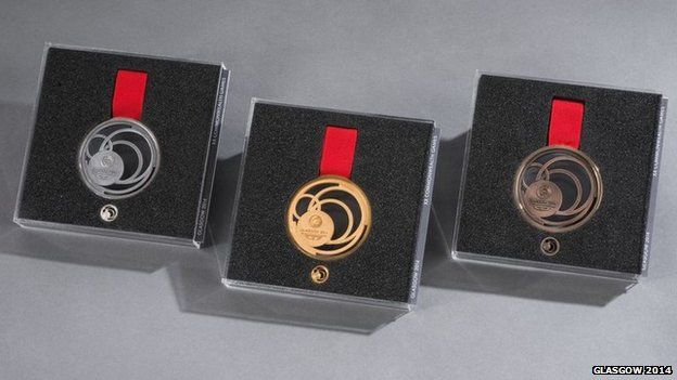 The Gold, Silver and Bronze medals were displayed at an event at Kelvingrove Art Gallery to mark 100 days to the Games' opening ceremony on 23 July.  Organisers revealed that more than 1,380 medals would be awarded at 261 medal ceremonies during the Games.  Each of the medals weighs 100g and is being hand-made by expert jewellers at the Glasgow School of Art.
