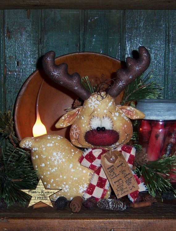 Hey, I found this really awesome Etsy listing at https://www.etsy.com/listing/210075794/primitive-santa-s-reindeer-deer-ornie