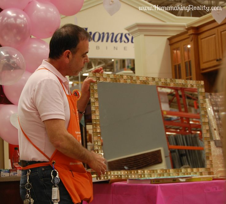 tiling a mirror | Framing a Mirror with Tile – A Home Depot Do-It-Herself Project