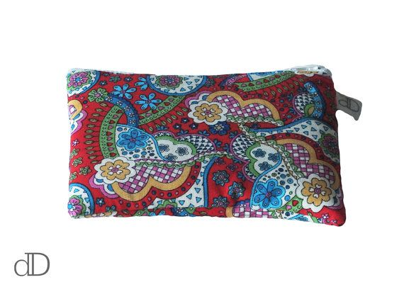 Make Up Bag / Cosmetic Bag /  Purse in Red Paisley Liberty print