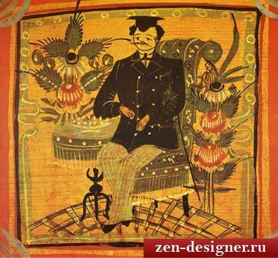 Крюков. Сиденье расписного стульчика. Начало 20 в. Источник: Городецкая роспись и живопись