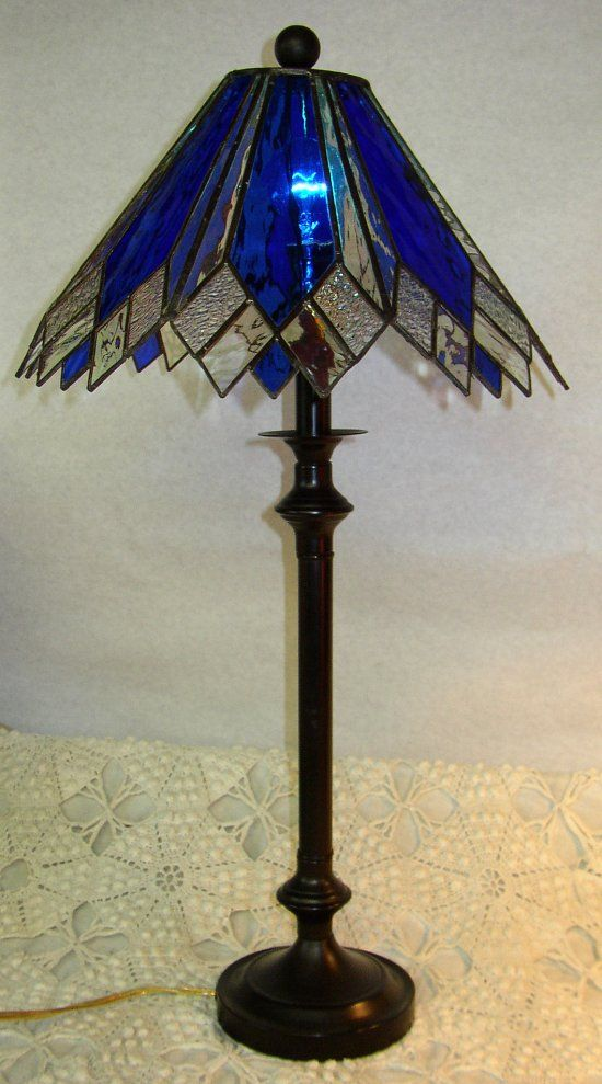blue Tall Lamps | Kelley Studios Stained Glass Lamps