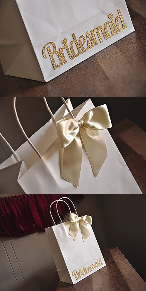 Bridesmaid Gift Bags. Large White Paper Bags with Handle. Bridesmaid Gift Ideas. Set of 5 bags