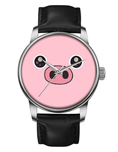 Mädchenuhr, Silber Schwarz Damenuhr Leder Armbanduhr mit Rosa Schwein OOFIT Design - http://uhr.haus/oofit/maedchenuhr-damenuhr-leder-armbanduhr-mit-rosa-4