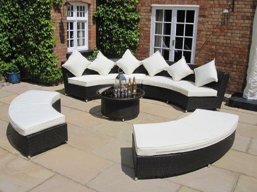 Amber Luxury Grey Rattan Garden Furniture Set Sofa and Coffee Table