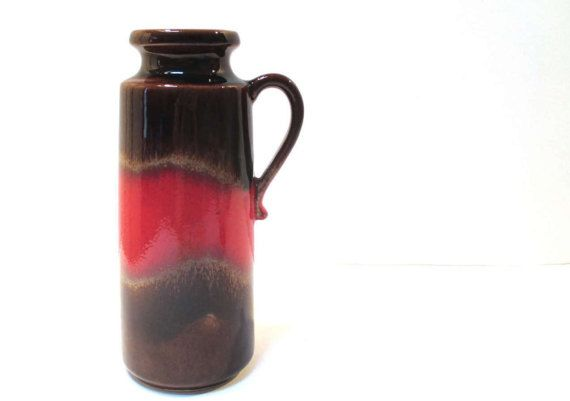 Great price on brown & red fat lava vase with handle - Scheurich 401-20.