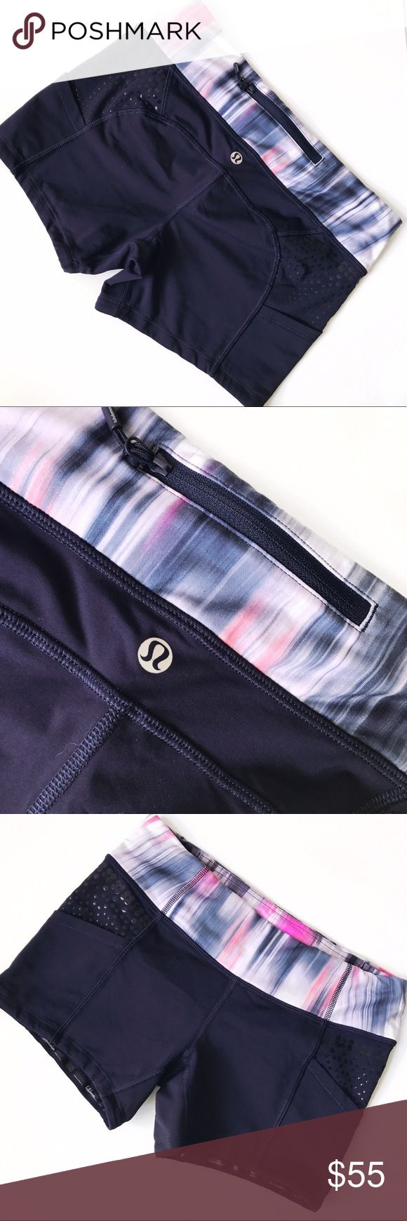 """➡lululemon athletica Dart and Dash Short⬅ The smooth Luxtreme waistband wicks away sweat and won't cut in. Cinch the drawcord for a secure fit at the waist. Silicone gripper print helps keep fitted running tops in place. Chafe-resistant flat seams help sensitive skin from getting irritated. Washed and worn once. properties: moisture wicking, chafe-resistant, breathable Approx. inseam: 6"""" lululemon athletica Shorts"""