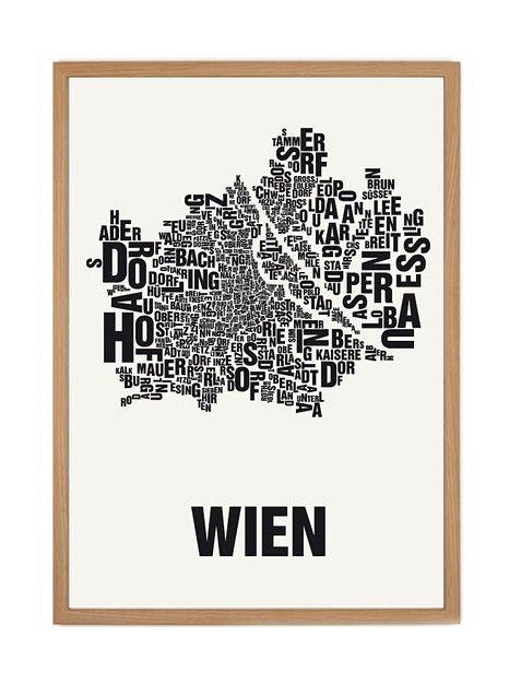Wien city screen print poster in black by Buchstabenorte