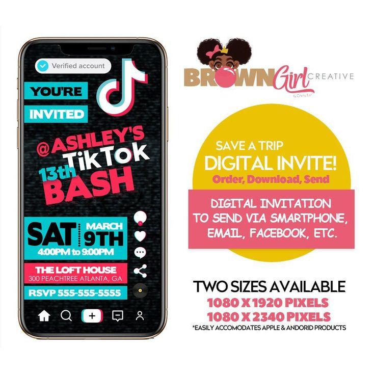 Digital Tik Tok Invitation Tik Tok Birthday Tik Tok Etsy In 2021 Sleepover Birthday Parties Digital Invitations 10th Birthday Parties