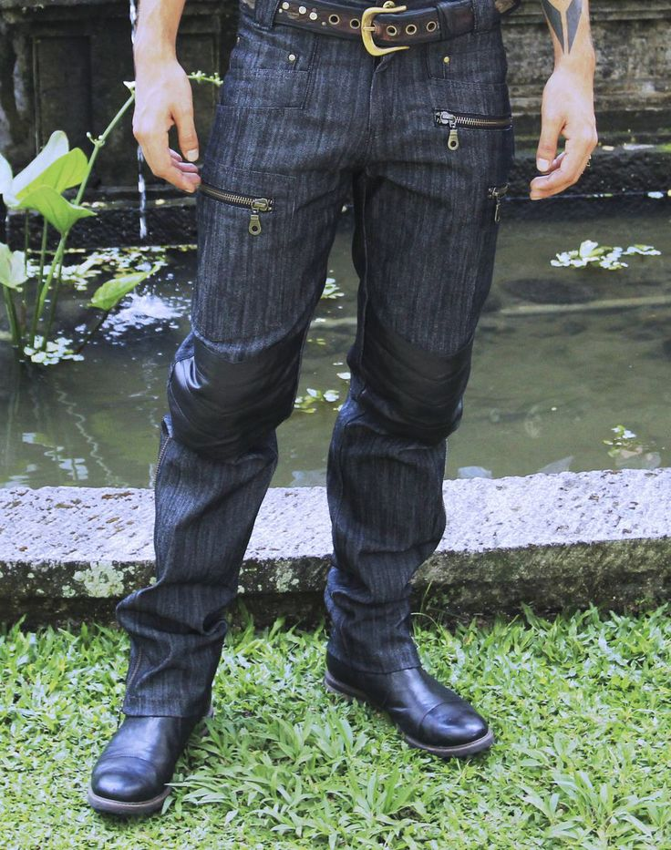 SoulPath fashion https://www.soulpathstore.com/  Men leather denim biker style pants. Quality leather on the knees , pockets and on the inside unzip sides for you boots. Modern biker gear here we go..