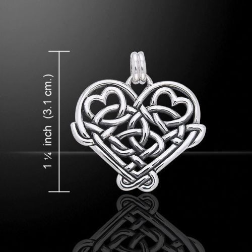 Celtic Hearts Pendant 925 Sterling Silver Celtic Knotwork HEARTS Gift for Lovers