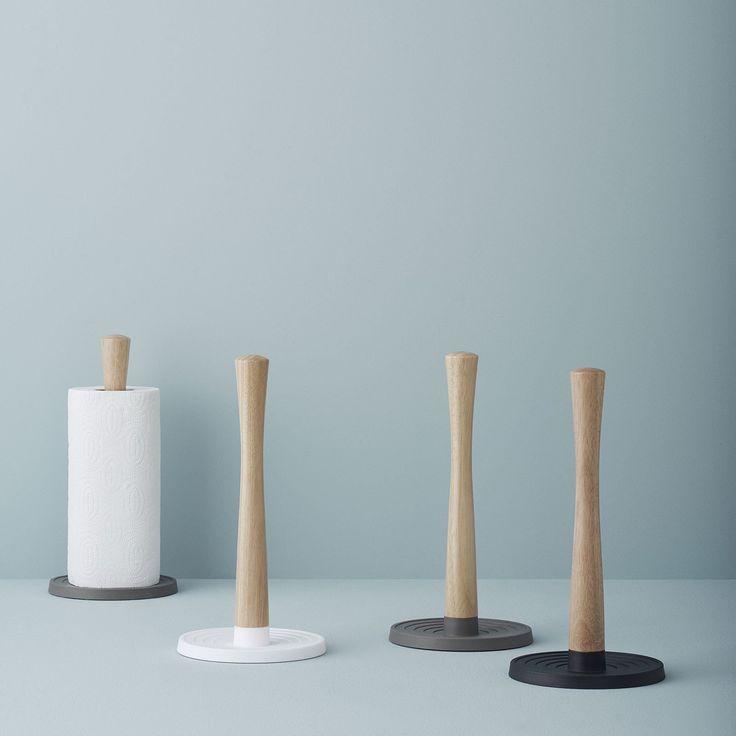 Küchenrollenhalter ROLL IT Weiss Mit Holz Stelton By RIGTIG