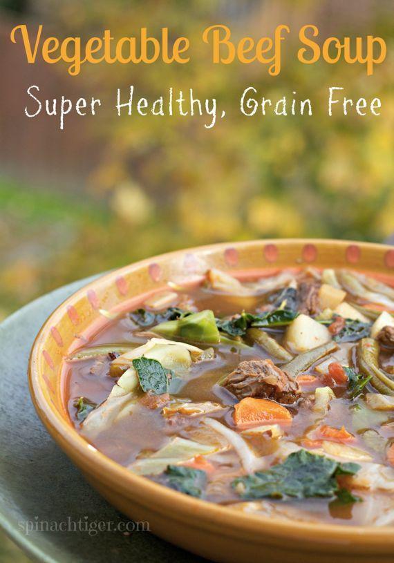 Homemade Vegetable Beef Soup Grain Free Paleo Friendly