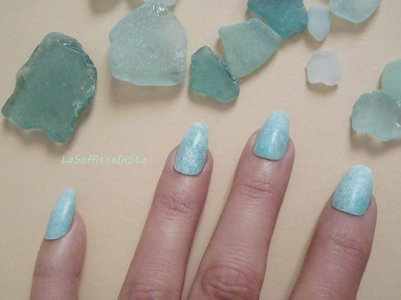 mint coffin nails green almond mermaid sea glass ballerina false fake nails beach wedding seafoam night sexy coffin fashion lasoffittadiste