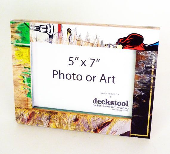 Picture Frame #008 for 5x7 photo. Made from Recycled Skateboards by  Deckstool. Furniture, skateboard wall decor, dorm, mancave, office gift