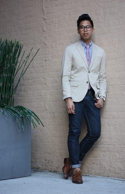 beige jacket, jeans