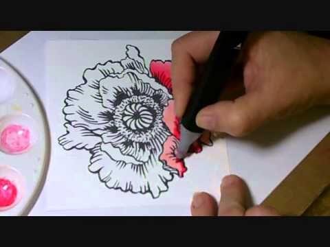 Kristine Reynolds Coloring Jumbo Poppy with Spectrum Noir Markers - terrific beginning alcohol marker tutorial.