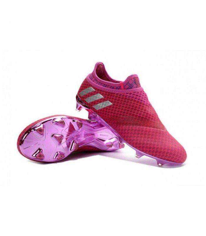 Acheter Adidas Messi 16+ Pureagility FG/AG Chaussures de football pour Homme Rouge Violet Argenté pas cher en ligne 119,00 € sur http://cramponsdefootdiscount.com