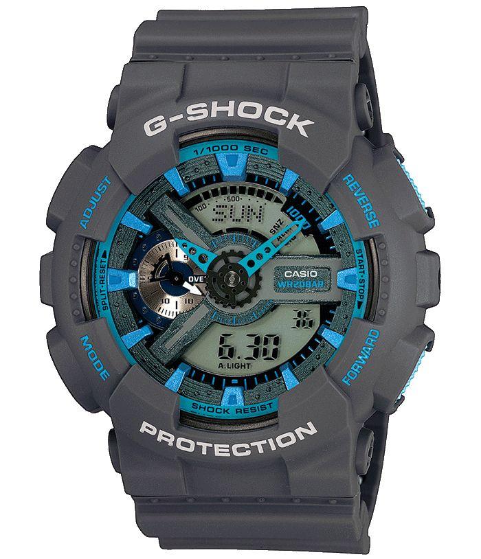 CASIO G-SHOCK horloge, GA-110TS-8A2ER. Sportief horloge met donkergrijze kast en voorzien van turquoisekleurige accenten. Uitgevoerd met analoge/digitale tijdsaanduiding en dag-, maand- en datumaanduiding. Dit model is 200 meter waterdicht en voorzien van een donkergrijze band met gespsluiting. Stoer horloge voor nog stoerdere mannen. De Countdowntimers helpen u te herinneren aan speciale of terugkerende gebeurtenissen door op het ingestelde tijdstip een geluidssignaal af te geven.