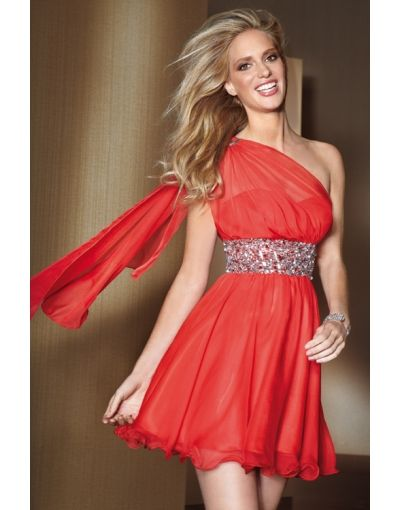 One Shoulder Ruching A-line Empire Prom Dress