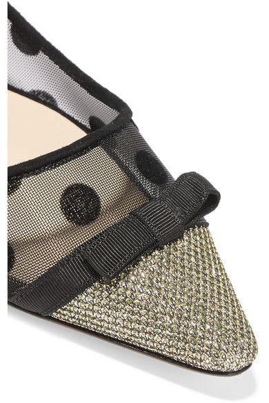 Jimmy Choo - Dorothy Glittered Embroidered Mesh Point-toe Flats - Black - IT40.5