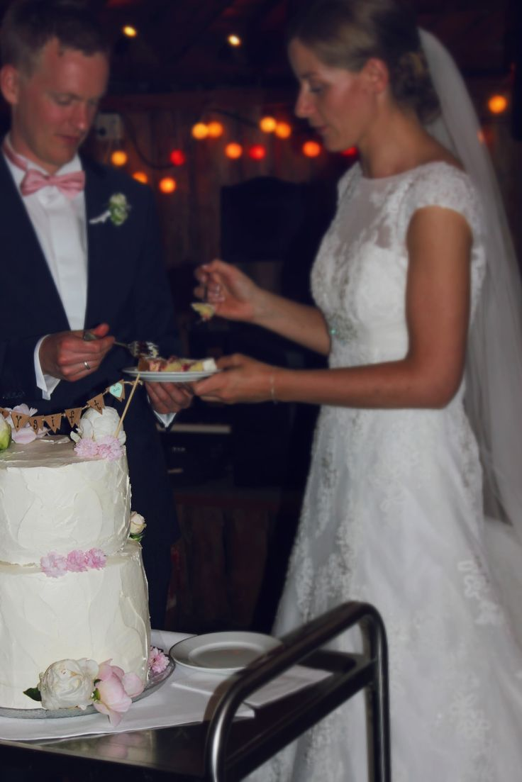 the couple cutting the cake.