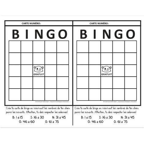 Fichier PDF téléchargeable En noir et blanc seulement 1 page  L'élève crée sa carte de bingo en respectant la charte de numéros donnée. Chaque feuille contient 2 cartes de jeu.
