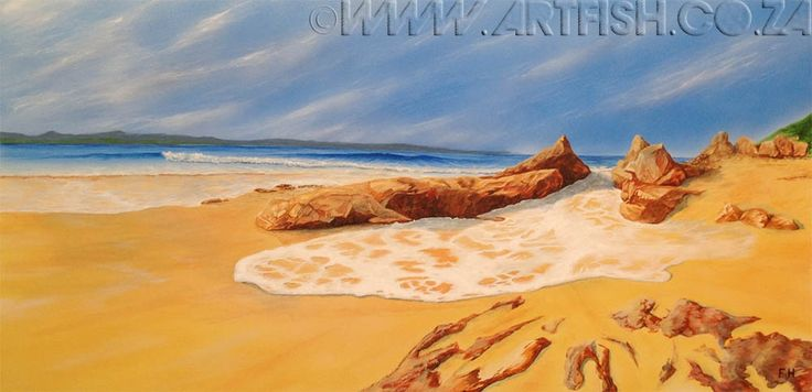 Waiting for the Tide. Incoming tide on Robberg Beach in Plettenbergbay. Original acrylic on canvas. H700 x W1400mm.