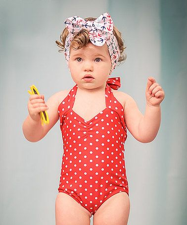 Look at this #zulilyfind! Red & White Polka Dot One-Piece - Infant by Red Dolly Swimwear #zulilyfinds