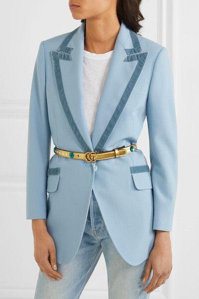 Gucci - Crystal-embellished Metallic Leather Belt - Gold