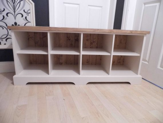 Handmade shabby chic shoe storage bench made out of MDF and pine for a beautiful yet durable piece for any hallway. This item can be made to