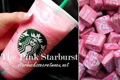 Starbucks Secret Menu Pink Starburst Frappuccino! Order by recipe here: http://starbuckssecretmenu.net/starbucks-secret-menu-the-pink-starburst-frappuccino/