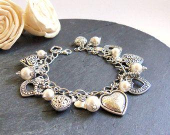 Pulsera de perlas y cristal blanco y ópalo blanco brazalete de
